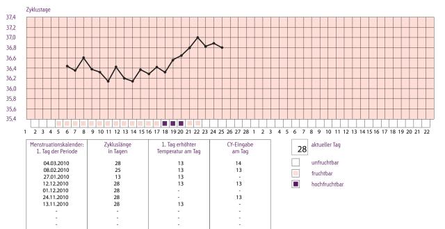 Auswertung Zykluskalender Zykluscomputer